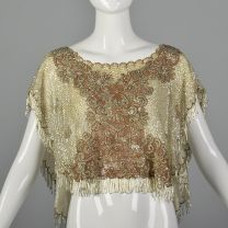 OSFM 1960s Sequined and Beaded Lace Poncho Ivory Sequined Shawl Beaded Fringe Capelet