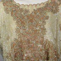 OSFM 1960s Sequined and Beaded Lace Poncho Ivory Sequined Shawl Beaded Fringe Capelet  - Fashionconstellate.com