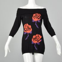 XS Gianni Versace Spring Summer 1988 Black Sweater Floral Rose Novelty Off the Shoulder Tunic Dress