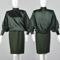 Small Galanos 1980s Green Blouse and Skirt Set Batwing Blouse High Neck Dress Set  Long Sleeve Top