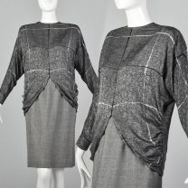 XS Galanos 1980s Skirt and Blouse Set Black and White Check Long Sleeve Batwing Top Matching Skirt