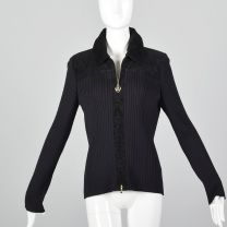 Medium 1990s St John Sport Zip Front Cardigan Black Ribbed Knit Corduroy Heart Zipper Pull Sweater
