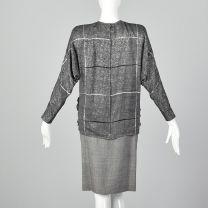 XS Galanos 1980s Skirt and Blouse Set Black and White Check Long Sleeve Batwing Top Matching Skirt - Fashionconstellate.com