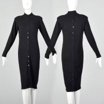 Small 1990s Cozy Black Knit Wool Sweater Dress with Long Sleeves and Black Buttons