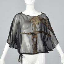 XS 1990s Sheer Black Top Oversized Blouse Short Sleeves Velvet Detail Sheer Separates Lightweight