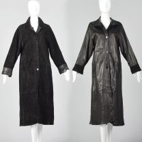 Medium 1990s Reversible Leather Coat Long Black Suede Patch Pockets Soft Supple Long Length Goth