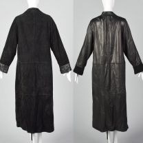 Medium 1990s Reversible Leather Coat Long Black Suede Patch Pockets Soft Supple Long Length Goth - Fashionconstellate.com