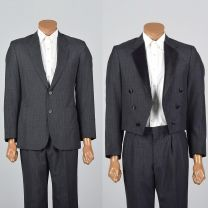 Small 37R 32x31 1960s Mens Three Piece Suit Tuxedo Tux Blazer Jacket Tails Pleated Front Trousers