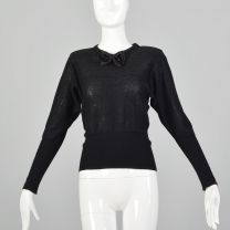 XXS Sonia Rykiel 1980s Sweater Black Silver Metallic Lurex Stripe Long Sleeve Bow Neck Top