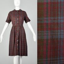 XL 1950s Burgundy Plaid Day Dress Cotton Short Sleeve Casual Volup