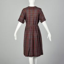 XL 1950s Burgundy Plaid Day Dress Cotton Short Sleeve Casual Volup  - Fashionconstellate.com
