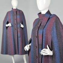 Medium 1970s Wool Cape Attached Scarf Striped Cape Bohemian Outerwear Button Front Fall Autumn