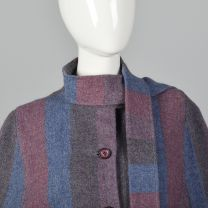 Medium 1970s Wool Cape Attached Scarf Striped Cape Bohemian Outerwear Button Front Fall Autumn - Fashionconstellate.com