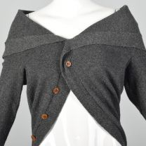 OSFM Cropped Sweater Comme des Garçons Gray Circle Wool Avant Garde Unique Cardigan - Fashionconstellate.com