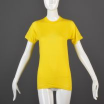 Small Yellow T-Shirt 1970s Ribbed Knit Trim Top Slim Tight Fitting Unisex Tee