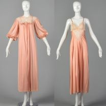 XS 1970s Blush Pink Peignoir Lingerie Set Sheer Lace Neck Nightgown with Matching Silky Robe