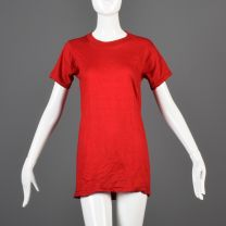 Small Red T-Shirt 1970s Unisex Ribbed Knit Trim Top Slim Tight Fitting Cotton Tee