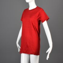 Small Red T-Shirt 1970s Unisex Ribbed Knit Trim Top Slim Tight Fitting Cotton Tee - Fashionconstellate.com