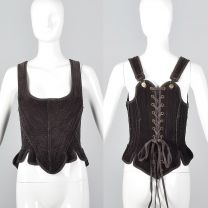 Small Gary Graham Brown Corset Top Sleeveless Boned Laced Back Cotton Separates