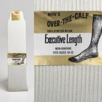 Deadstock 1950s Men's Rib Knit Nylon Socks Stretch Thin Sheer Over the Calf Ivory Lightweight