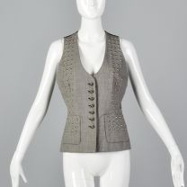 Small 1990s Todd Oldham Times Seven 7 Studded Vest Wool Separates Black Red Check Vest Fall Autumn