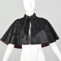 OSFM 1900s Black Cape Silk Beaded Lace Mourning Edwardian Capelet Mantel Outerwear