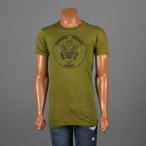 Small Mens 1970s T-Shirt Army Green Military Screen Tee 100% Cotton Short Sleeve T