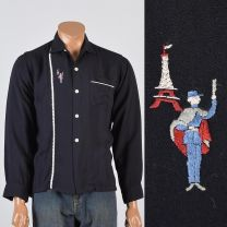 Medium Mens 1950s Shirt Black Long Sleeve Novelty French Eiffel Tower Embroidery Button Down