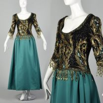 Medium 1990s Bob Mackie Boutique Green Dress Gold Beaded Black Bodice Full Satin Skirt Ball Gown