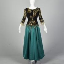Medium 1990s Bob Mackie Boutique Green Dress Gold Beaded Black Bodice Full Satin Skirt Ball Gown - Fashionconstellate.com