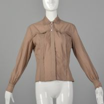 Large 1950s Taupe Bonwit Teller Lightweight Cotton Western Topstitched Blouse
