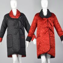 Medium 1980s Coat Sonia Rykiel Reversible Quilted Coat Outerwear Floral Quilted Detail Red Black
