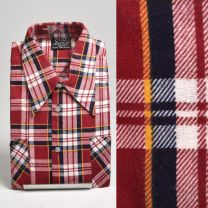 Medium 1970s Deadstock Mens Red Plaid Cotton Flannel Shirt Long Sleeve Two Pockets Button Front