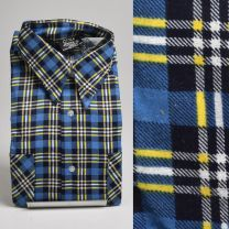 Medium 1970s Deadstock Men's Blue Flannel Shirt Cotton Plaid Pockets Long Sleeve Winter