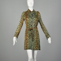 Small 1970s Leopard Print Tunic Dress Long Sleeve Halloween Costume