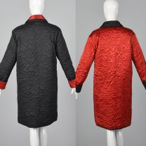 Medium 1980s Coat Sonia Rykiel Reversible Quilted Coat Outerwear Floral Quilted Detail Red Black - Fashionconstellate.com
