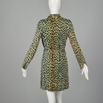 Small 1970s Leopard Print Tunic Dress Long Sleeve Halloween Costume - Fashionconstellate.com