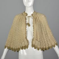 Crochet Capelet with Gold Details Vintage Women's Cape Gold Shawl Vintage Gold Crochet Cover Up