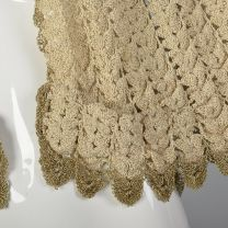 Crochet Capelet with Gold Details Vintage Women's Cape Gold Shawl Vintage Gold Crochet Cover Up - Fashionconstellate.com