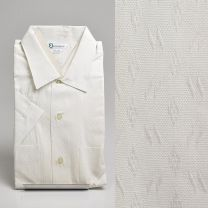 Large 1950s Deadstock Short Sleeve Dress Shirt Cotton Two Pockets Button Front White Patterned