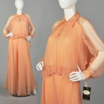 Small 1970s Palazzo Pants Outfit Orange Chiffon Long Sleeve Top High Waisted Wide Leg Trousers