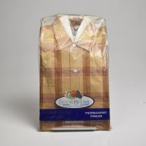 Small 1960s Deadstock Brown Plaid Shirt All Cotton Permanent Press Fruit of the Loom Long Sleeve Two - Fashionconstellate.com