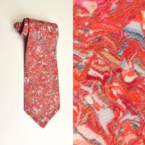 1970s Wide Necktie Pinks Abstract Psychedelic Painted Marbled Print