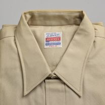 1950s Deadstock Tan Long Sleeve Shirt Single Pocket Button Front Spearpoint Collar - Fashionconstellate.com