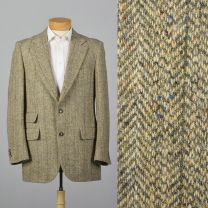 Large 41L 1970s Tweed Suit Jacket Convertible Pocket Wide Lapels Single Vent Tan Gray