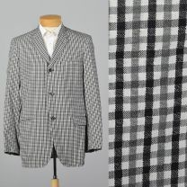 Medium 39L 1950s Mens Seersucker Jacket Convertible Pockets Black White Gingham Single Vent