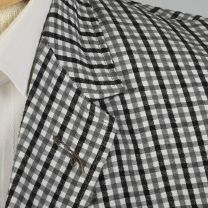Medium 39L 1950s Mens Seersucker Jacket Convertible Pockets Black White Gingham Single Vent  - Fashionconstellate.com