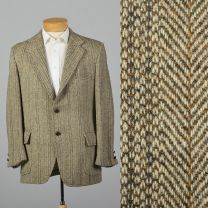 Large 41R 1970s Mens Harris Tweed Tan Jacket Patch Pockets Single Vent Wide lapels Herringbone