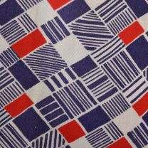 Large 1970s Top Red White and Blue Geometric Print Cotton Button Down Shirt - Fashionconstellate.com
