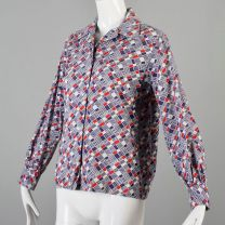 Large 1970s Top Red White and Blue Geometric Print Cotton Button Down Shirt